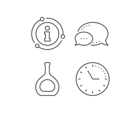 Cognac bottle line icon. Chat bubble, info sign elements. Brandy alcohol sign. Linear cognac bottle outline icon. Information bubble. Vector Ilustração