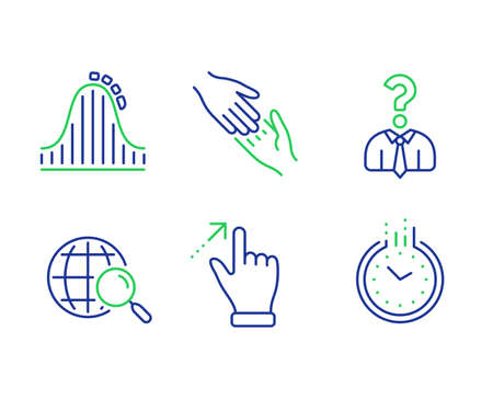 Touchscreen gesture, Helping hand and Hiring employees line icons set. Roller coaster, Web search and Time signs. Swipe, Give gesture, Human resources. Attraction park. Business set. Vector