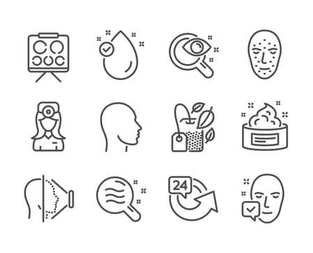 Set of Medical icons, such as Skin condition, Head, Vision test, Face id, Vision board, Face accepted, Vitamin e, Mint bag, 24 hours, Oculist doctor, Skin cream line icons. Skin condition icon. Vector