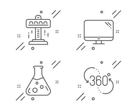 Computer, Attraction and Chemistry lab line icons set. 360 degree sign. Pc component, Free fall, Laboratory. Virtual reality. Business set. Line computer outline icon. Vector Illustration