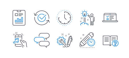 Set of Education icons, such as Approved, Engineering, Time, Creative idea, Web lectures, Project deadline, Talk bubble, Report document, Music phone, Help line icons. Line approved icon. Vector Çizim