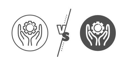 Work gear sign. Versus concept. Employee hands line icon. Development cogwheel symbol. Line vs classic employee hand icon. Vector Illusztráció