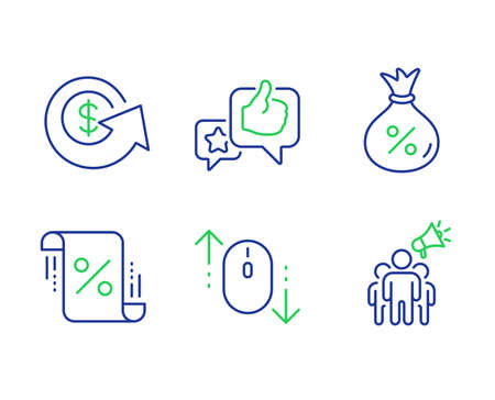 Loan, Loan percent and Scroll down line icons set. Like, Dollar exchange and Brand ambassador signs. Money bag, Discount blueprint, Mouse swipe. Star rating. Technology set. Vector