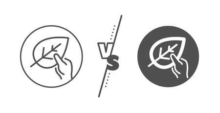 Bio cosmetics sign. Versus concept. Organic tested line icon. Paraben symbol. Line vs classic organic tested icon. Vector