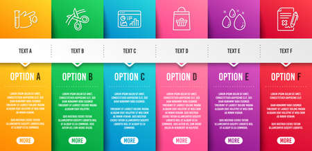 Online buying, Scissors and Seo statistics line icons set. Infographic timeline. Blood donation, Water drop and Reject file signs. Shopping cart, Cutting ribbon, Analytics chart. Vector Иллюстрация