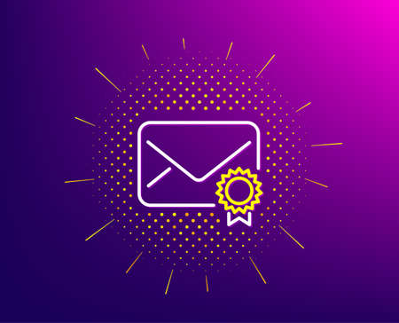 Verified Mail line icon. Halftone pattern. Confirmed Message correspondence sign. E-mail symbol. Gradient background. Verified Mail line icon. Yellow halftone pattern. Vector