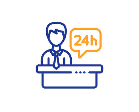 24 hour help sign. Reception desk line icon. Hotel service symbol. Colorful outline concept. Blue and orange thin line reception desk icon. Vector