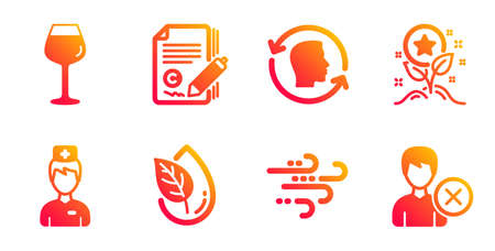 Copywriting, Loyalty points and Organic product line icons set. Bordeaux glass, Doctor and Face id signs. Windy weather, Remove account symbols. Copyright signature, Bonus grows. Vector Иллюстрация