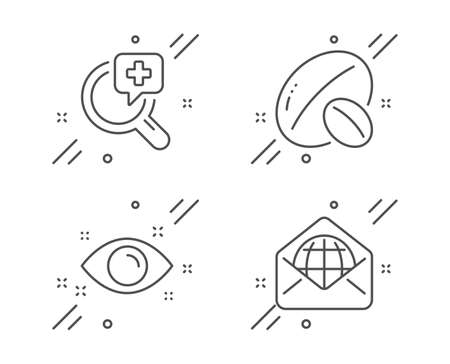 Soy nut, Medical analyzes and Health eye line icons set. Web mail sign. Vegetarian food, Medicine, Optometry. World communication. Business set. Line soy nut outline icon. Vector Ilustracja