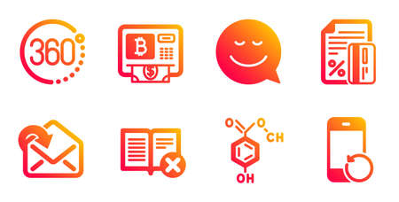 Chemical formula, Receive mail and Bitcoin atm line icons set. Credit card, 360 degrees and Smile signs. Reject book, Recovery phone symbols. Chemistry, Incoming message. Technology set. Vector Иллюстрация
