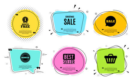 Christmas Sale. Best seller, quote text. Special offer price sign. Advertising Discounts symbol. Quotation bubble. Banner badge, texting quote boxes. Christmas sale text. Coupon offer. Vector Stock Illustratie