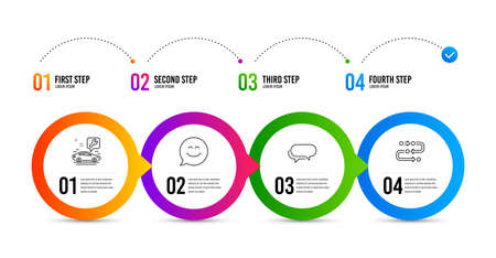 Messenger, Car service and Smile chat line icons set. Timeline infographic. Methodology sign. Speech bubble, Repair service, Happy face. Development process. Business set. Messenger icon. Vector Ilustração