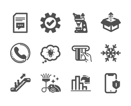 Set of Technology icons, such as Service, Credit card, Energy, Decreasing graph, Smartphone protection, Comments, Call center, Microscope, Air conditioning, Escalator, Vacuum cleaner. Vector