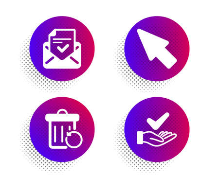Mouse cursor, Approved mail and Recovery trash icons simple set. Halftone dots button. Dermatologically tested sign. Click arrow, Confirmed document, Backup file. Organic. Technology set. Vector
