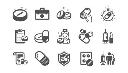 Medical drugs icons. Healthcare, Prescription and Pill signs. Pharmacy drugs, recipe pill icons. Antibiotic capsule, syringe vaccination. Classic set. Quality set. Vector Illustration