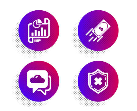 Weather forecast, Report document and Fast payment icons simple set. Halftone dots button. Reject protection sign. Cloudy, Growth chart, Finance transfer. No security. Business set. Vector