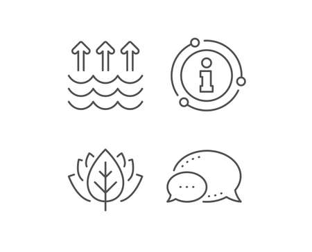 Evaporation line icon. Chat bubble, info sign elements. Global warming sign. Waves symbol. Linear evaporation outline icon. Information bubble. Vector