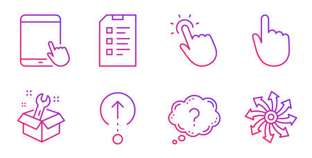 Hand click, Swipe up and Spanner line icons set. Question mark, Touchpoint and Tablet pc signs. Checklist, Versatile symbols. Location pointer, Scrolling page. Business set. Vector