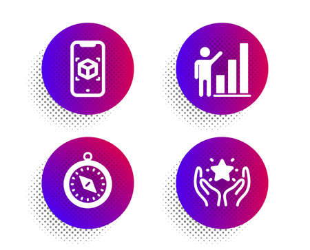 Augmented reality, Graph chart and Travel compass icons simple set. Halftone dots button. Ranking sign. Phone simulation, Growth report, Trip destination. Hold star. Technology set. Vector