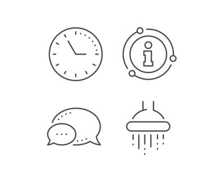 Shower line icon. Chat bubble, info sign elements. Bathroom sign. Hotel service symbol. Linear shower outline icon. Information bubble. Vector