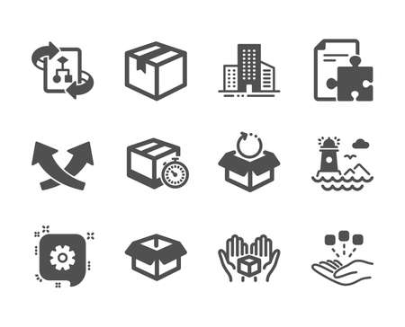 Set of Industrial icons, such as Parcel, Intersection arrows, Buildings, Technical algorithm, Delivery timer, Strategy, Consolidation, Hold box, Lighthouse, Opened box, Return package. Vector