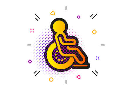 Disabled person sign. Halftone circles pattern. Disability icon. Hotel service symbol. Classic flat disability icon. Vector