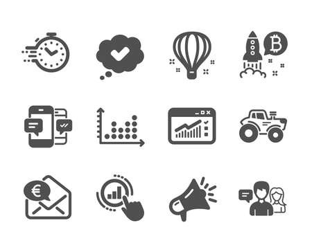 Set of Technology icons, such as Web traffic, Bitcoin project, Graph chart, Megaphone, Air balloon, Euro money, Smartphone sms, Dot plot, Tractor, Approved, People talking, Timer. Vector Illusztráció