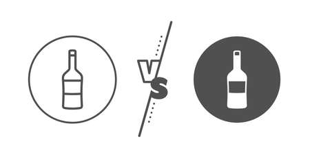 Wine sign. Versus concept. Wine bottle line icon. Line vs classic wine icon. Vector