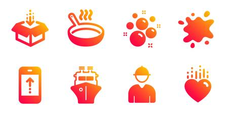 Ship, Clean bubbles and Get box line icons set. Frying pan, Dirty spot and Engineer signs. Swipe up, Heart symbols. Shipping watercraft, Laundry shampoo. Business set. Gradient ship icons set. Vector