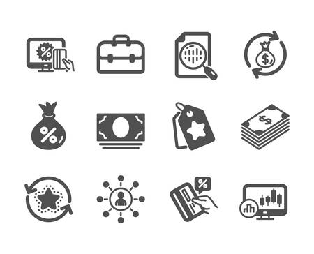 Set of Finance icons, such as Money exchange, Loyalty tags, Portfolio, Credit card, Networking, Dollar, Candlestick chart, Online shopping, Cash money, Analytics chart, Loyalty points. Vector Ilustracja