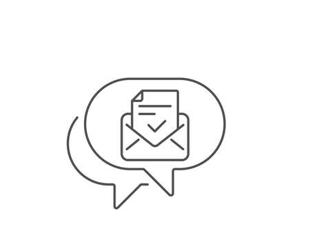 Approved mail line icon. Chat bubble design. Accepted or confirmed sign. Document symbol. Outline concept. Thin line approved mail icon. Vector