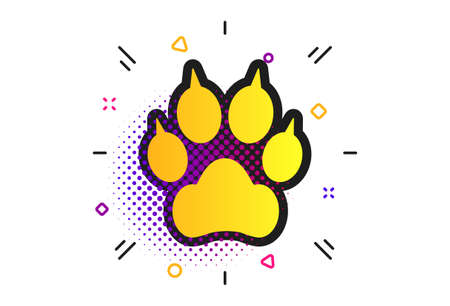 Dog paw with clutches sign icon. Halftone dots pattern. Pets symbol. Classic flat dog paw icon. Vector