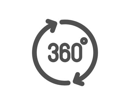 VR simulation sign. 360 degrees icon. Panoramic view symbol. Classic flat style. Simple 360 degrees icon. Vector Illustration