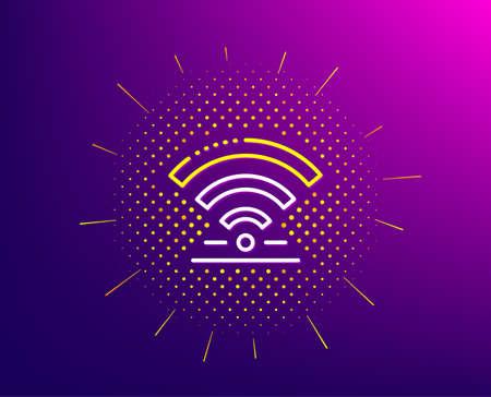 Wifi line icon. Halftone pattern. Wireless internet sign. Hotel service symbol. Gradient background. Wifi line icon. Yellow halftone pattern. Vector