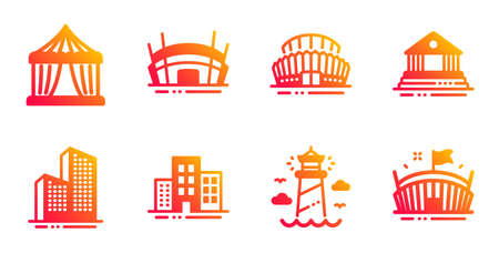 Arena stadium, Lighthouse and Buildings line icons set. Sports stadium, Court building and Circus tent signs. Skyscraper buildings, Arena symbols. Competition building, Lighthouse tower. Vector