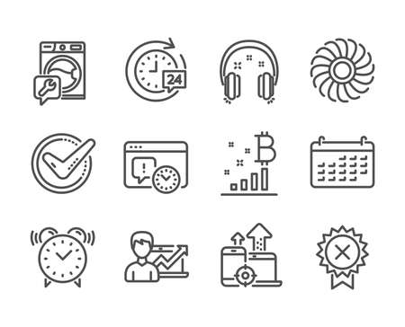 Set of Technology icons, such as Headphones, Fan engine, Alarm clock, Success business, Project deadline, Calendar, Washing machine, Bitcoin graph, Seo devices, Confirmed, Reject medal. Vector