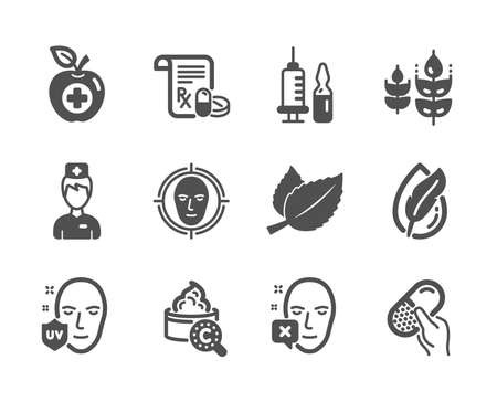 Set of Healthcare icons, such as Collagen skin, Capsule pill, Medical vaccination, Gluten free, Medical prescription, Face declined, Uv protection, Hypoallergenic tested, Face detect. Vector