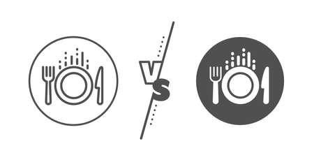 Cutlery sign. Versus concept. Food line icon. Fork, knife symbol. Line vs classic food icon. Vector Illustration
