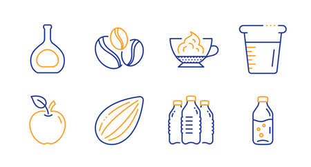 Espresso cream, Apple and Coffee-berry beans line icons set. Cognac bottle, Almond nut and Cooking beaker signs. Water bottles, Water bottle symbols. Cafe con panna, Fruit. Vector