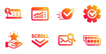 Loyalty program, Checkbox and Search mail line icons set. Online accounting, Web traffic and Scroll down signs. Cogwheel, Ram symbols. Bonus star, Approved. Technology set. Vector