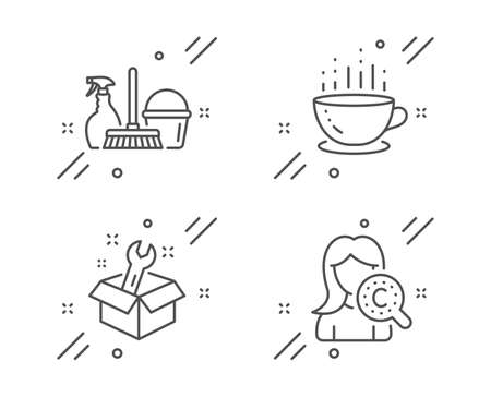 Spanner, Household service and Coffee cup line icons set. Collagen skin sign. Repair service, Cleaning equipment, Hot drink. Skin care. Business set. Line spanner outline icon. Vector Ilustração