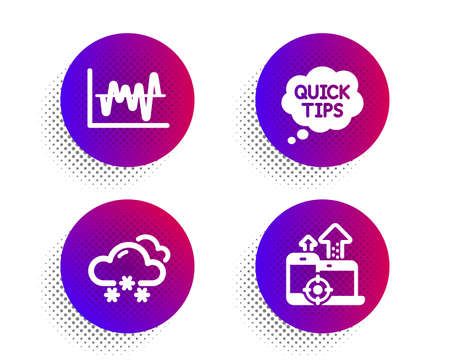 Quick tips, Snow weather and Stock analysis icons simple set. Halftone dots button. Seo devices sign. Helpful tricks, Snowflake, Business trade. Mobile stats. Science set. Vector Çizim