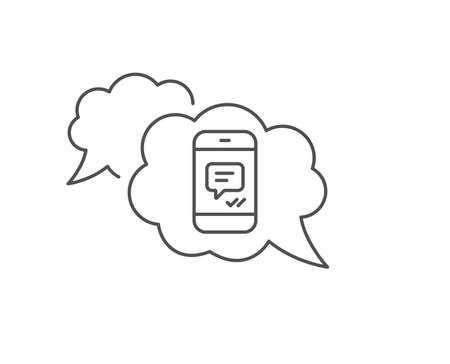 Phone Message line icon. Chat bubble design. Mobile chat sign. Conversation or SMS symbol. Outline concept. Thin line message icon. Vector