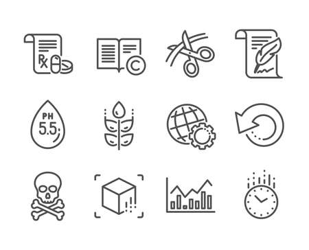 Set of Science icons, such as Globe, Ph neutral, Recovery data, Chemical hazard, Gluten free, Medical prescription, Infochart, Feather, Scissors, Augmented reality, Time, Copyright. Globe icon. Vector Çizim