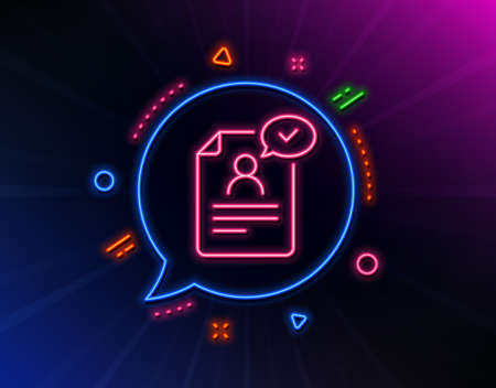 Resume document line icon. Neon laser lights. Contract application sign. Agreement file symbol. Glow laser speech bubble. Neon lights chat bubble. Banner badge with resume document icon. Vector