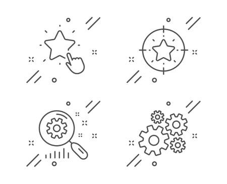 Ranking star, Search statistics and Star target line icons set. Cogwheel sign. Click rank, Analysis, Winner award. Engineering tool. Technology set. Line ranking star outline icon. Vector