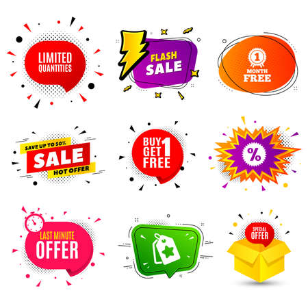 Limited quantities symbol. Banner badge, flash sale bubble. Special offer sign. Sale. Last minute offer. Sticker badge, comic bubble. Discounts box. Vector Stok Fotoğraf - 134647500