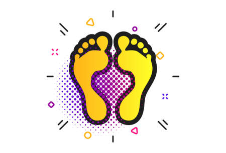 Human footprint sign icon. Halftone dots pattern. Barefoot symbol. Foot silhouette. Classic flat footprint icon. Vector Illustration