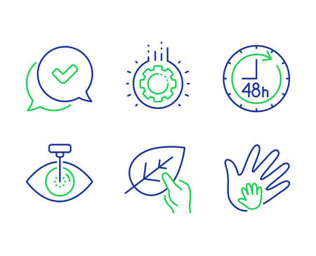 Organic tested, Approved and Gear line icons set. Eye laser, 48 hours and Social responsibility signs. Paraben, Chat message, Work process. Optometry clinic. Business set. Vector Illustration