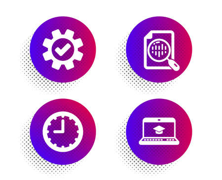 Analytics chart, Service and Time icons simple set. Halftone dots button. Website education sign. Report analysis, Cogwheel gear, Office clock. Video learning. Science set. Vector